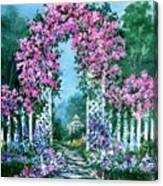 Rose-covered Trellis Canvas Print