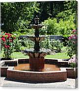 Rose Garden Fountain Canvas Print
