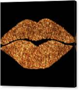 Rose Gold Texture Kiss, Lipstick On Pouty Lips, Fashion Art Canvas Print