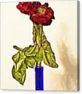 Rose In Blue Vase Canvas Print