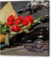 Harley Davidson And Roses Canvas Print