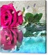 Rose Reflected Fragmented In Thick Paint Canvas Print