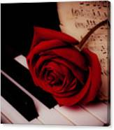 Rose With Sheet Music On Piano Keys Canvas Print