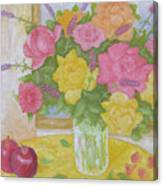 Roses And Apples Canvas Print