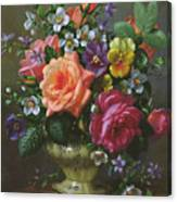 Roses And Pansies Canvas Print