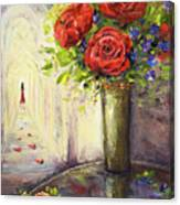 Roses And Woman Canvas Print