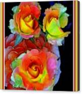 Roses For Anne Catus 1 No. 3 V B With Decorative Ornate Printed Frame. Canvas Print