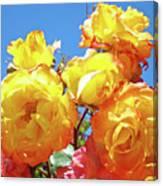 Roses Garden Summer Art Print Blue Sky Yellow Orange Canvas Print
