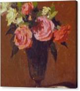Roses In A Glass Impression Canvas Print
