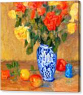 Roses In A Mexican Vase Canvas Print