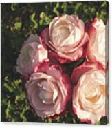 Roses In A Vase,on The Grass Canvas Print
