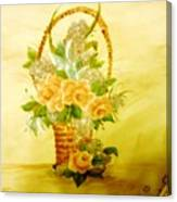 Roses In Basket Canvas Print