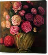 Roses In Brass Bowl Canvas Print