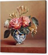 Roses In China Vase Canvas Print