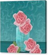 Roses In Clear Blue Jar Canvas Print