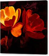 Roses In Molten Gold Art Canvas Print