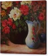 Roses N'blue Canvas Print
