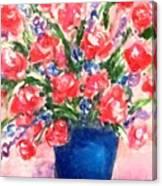 Roses On Blue Vase Canvas Print