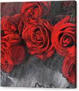 Roses On Lace Canvas Print