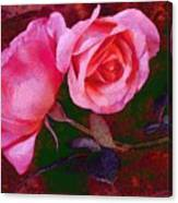 Roses Silked Pink Vegged Out Canvas Print