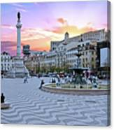 Rossio Square In Lisbon Portugal At Sunset Canvas Print