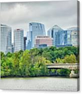 Rosslyn Distric Arlington Skyline Across River From Washington D Canvas Print
