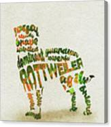 Rottweiler Dog Watercolor Painting / Typographic Art Canvas Print