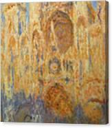 Rouen Cathedral, Facade, Sunset Canvas Print