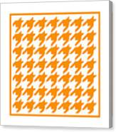 Rounded Houndstooth With Border In Tangerine Canvas Print