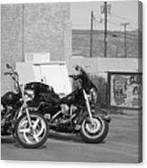 Route 66 Motorcycles Bw Canvas Print