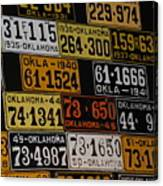 Route 66 Oklahoma Car Tags Canvas Print