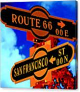 Route 66 Street Sign Stylized Colors Canvas Print