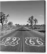 Route 66 With Joshua Trees In Black And White Canvas Print
