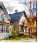 Row Of Houses Hardwick Vermont Watercolor Canvas Print