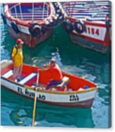 Rowboat In The Harbor At Port Of Valpaparaiso-chile Canvas Print