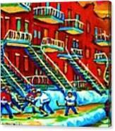 Rowhouses And Hockey Canvas Print