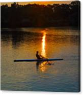 Rowing At Sunset 2 Canvas Print