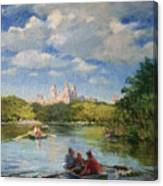 Rowing On The Lake, Central Park Canvas Print