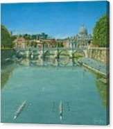 Rowing On The Tiber Rome Canvas Print