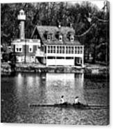 Rowing Past Turtle Rock Light House In Black And White Canvas Print