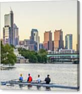 Rowing The Schuylkill - Philadelphia Cityscape Canvas Print