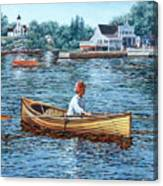 Rowing To Rockport Canvas Print