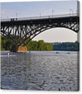 Rowing Under The Strawberry Mansion Bridge Canvas Print