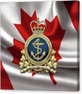 Royal Canadian Navy  -  R C N  Badge Over Canadian Flag Canvas Print