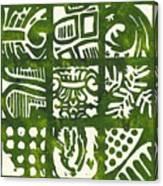 Rubbing Patterns Linocut Canvas Print