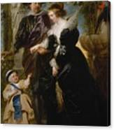 Rubens His Wife Helena Fourment 16141673 And Their Son Frans 16331678 Canvas Print