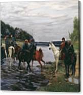 Rubicon. Crossing The River By Denis Davydov Squadron. 1812. Canvas Print