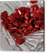 Ruby Red Hearts And Crystal Canvas Print