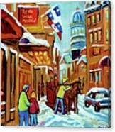 Rue St Paul Montreal Streetscene Cafes And Caleche Canvas Print