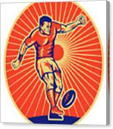 Rugby Player Kicking Ball Woodcut Canvas Print